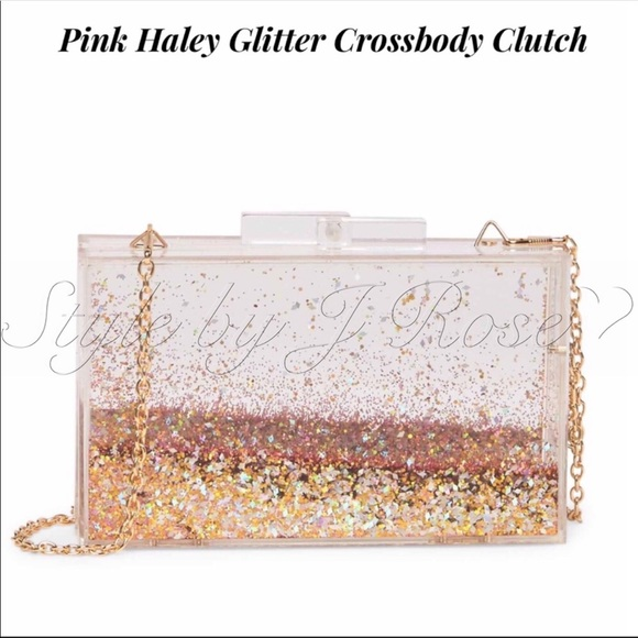 Pink Haley Handbags - NWT's & Box Pink Haley Glitter Crossbody Clutch